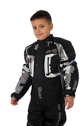 ViPER Rider A20 Motorrad-Bekleidung Draco Kinderjacke, Black/Grey Camoflage, 6-7