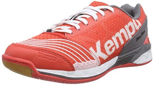 Kempa Statement Attack Pro, Chaussures de Handball mixte adulte Multicolore (fire Red/grau/weiß)