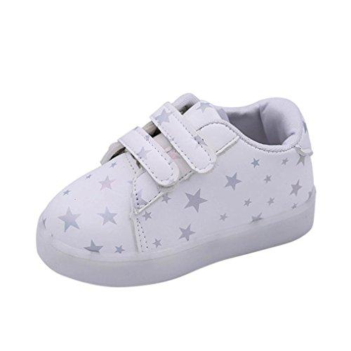 Baby Kind Art und Weiseturnschuhe LED-leuchtendes Kind Kleinkind beiläufige bunte helle Schuhe Von QinMM (2.5-3Jahr, Weiß) (Kinder Stern Kostüm Geburt)