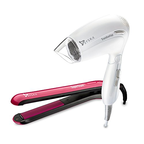 Syska Superglam HS 6811 Hair Straightener and Trendsetter HD 1605 Hair Dryer (Multicolor)