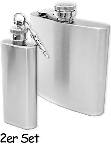 Outdoor Saxx® - 2er Set Flachmann 60ml Bottle + 170ml Flachmann | Taschen-Flasche Trink-Flasche für zB. Whiskey Schnaps | Edelstahl gebürstet, 2er Set (Schnaps Trink-set)
