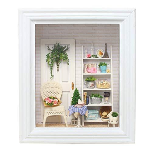 LSQR 3D-Mural Doll House Frame Miniatur mit Möbelmodellbau Kits DIY Wooden Dollhouse Spielzeug für Kinder Birthday Geschenk-Wohndekoration,White
