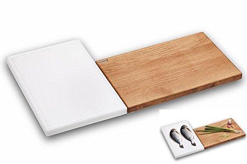 PROFI Set - Schneidebrett Eiche + Tranchierbrett Kunststoff ✓ Massiv ✓ Antibakteriell ✓ Messerschonend | Gastronomie Küchenbrett, Arbeitsbrett aus Holz