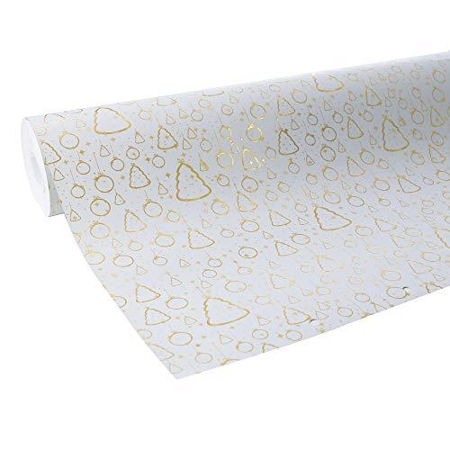Clairefontaine 211735C Geschenkpapier Premium (50x0,70m, 80g/qm) 1 Rolle Weihnachten Weiß/Gold