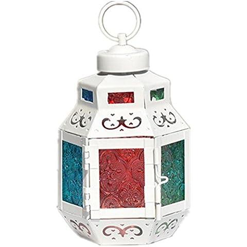 GYN Decoraciones de escritorio Europea hierro Retro hexagonal linternas Color vidrio vela titular creativo de inicio