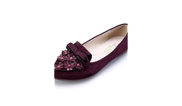 PDX/Damen Schuhe Wildleder Flach Ferse Komfort/spitz/geschlossen Zehen Wohnungen Kleid/Casual Schwarz/Blau/Pink/Burgund, - blue-us6 / eu36 / uk4 / cn36 - Größe: One Size