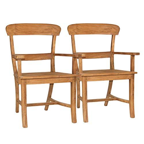 casamia Esszimmer Stühle Stuhl-Set mit Armlehnen Tanja 2 Stück mit Holzsitzfläche Teakholz gebürstet unbehandelt Kissen ohne Sitzkissen