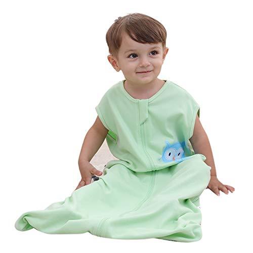 schlafsack baby sommer mädchen junge Frühling schlafanzug baumwolle dünner neugeboren Eule Grün - 0.5 tog. (130CM (3-6Jahre), Eule Grün)