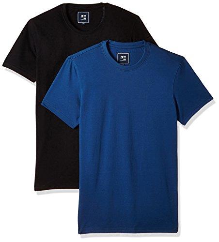 Peter England Men's T-Shirt (8907609000740_EKC51610093_S_Medium Blue with Black) Pack of 2