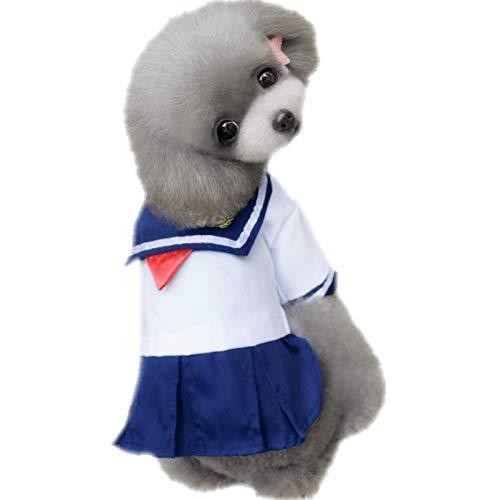 lipanpan Sailor Couple pet Costume cat Than Bear Dog Dress Little Teddy Dress Summer Four-Legged Skirt Thin (Teddy Dog-kostüm Bear)