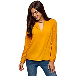 oodji Collection Mujer Blusa con Escote Gota y Decoración Metálica, Amarillo, ES 36 / XS