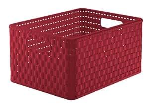 Country Panier de rangement Façon rotin Rouge rubis A4