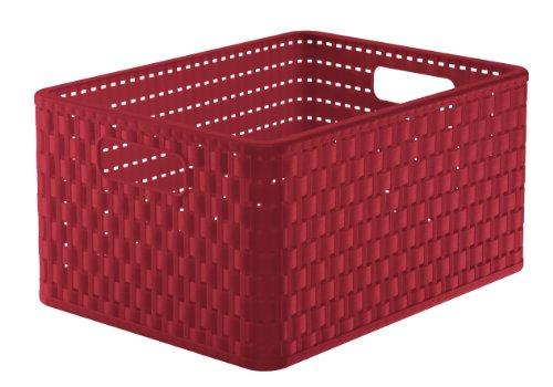 Rotho Country Aufbewahrungskiste 18 l in Rattan-Optik, Kunststoff (PP), rot, A4 / 18 Liter (36,8 x 27,8 x 19,1 cm) -