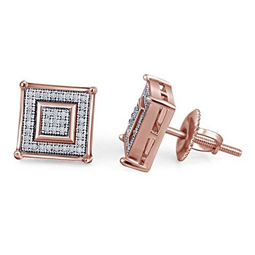 lilu Bijoux Diamant Véritable design unique forme carrée Boucles d'oreilles clous en argent sterling 925 14k Rose Gold Plated