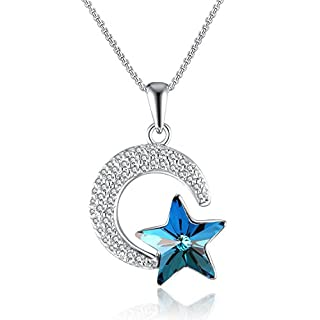 GAEA H Blue Half Moon and Star Birthday Gifts Jewellery Necklace for Women, Gift Boxes Pendants ans Necklace, Crystals from Swarovski for Christmas Wedding