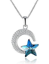 GAEA H Collier Pendentif pour Femme en Lune et étoile Swarovski Cristaux,  Bijoux Femme pour 27b3bef3d7b7