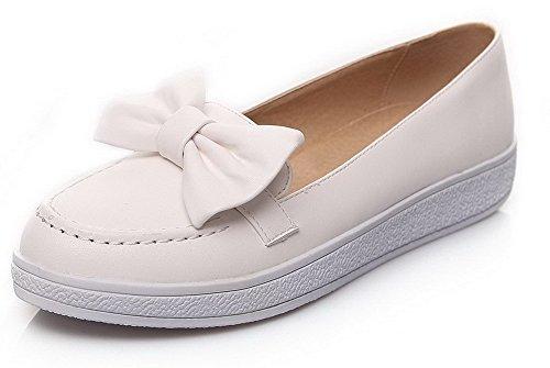 AgooLar Femme Rond à Talon Bas Matière Mélangee Tire Couleur Unie Chaussures Légeres Blanc