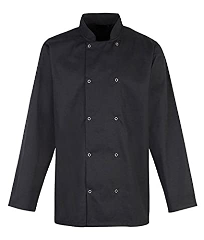 Chef's Long Sleeve Jacket Shirt White or Black, XS-4XL (L, Black)