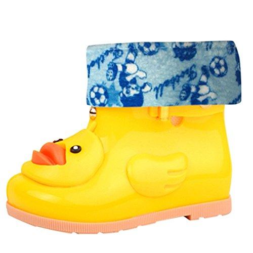 Entlein Schüler,Transwen Kleinkinder Kinder Jungen und Mädchen Baby Cartoon Ente Gummi Wasserdusche Warm Stiefel Regen Schuhe,Plus Samt Regen Stiefel, Regenstiefel, Rutschfeste Schuhe (26, Gelb)