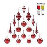 Youseexmas Decorazione di Natale in Vetro soffiato a Bocca Red Mercury Christmas Finials, Confezione da 17
