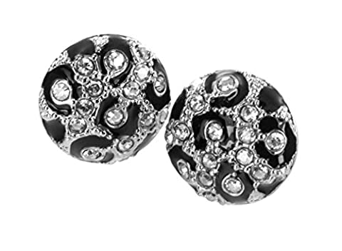 Guess Damen-Ohrstecker Wild At Heart Edelstahl Kristall rhodiniert schwarzes Emaille 1,3 cm UBE81326