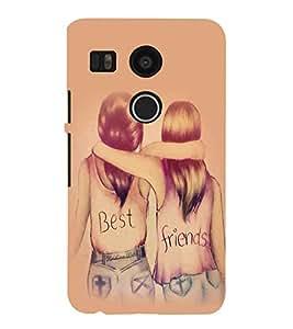 PrintVisa Best Friends 3D Hard Polycarbonate Designer Back Case Cover for LG Google Nexus 5X