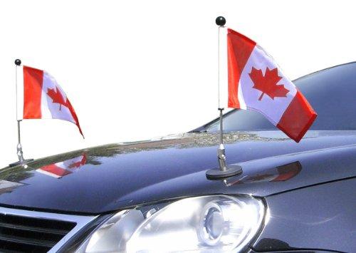 DIPLOMAT Paar magnetisch haftender Autofahnen-Ständer 1.30 Kanada mit Super-Magnet für Ihre Autoflaggen - Auto Fahne & Flagge (Autofahne Kanada)