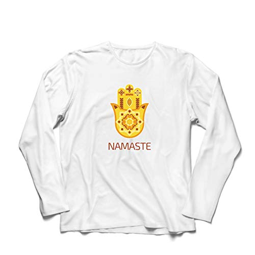 lepni.me Herren T Shirts Namaste Hmasa, Spirituelles Amulett, Meditation, für Yoga-LiebhaberInnen (Medium Weiß Mehrfarben) (Göttin Böse Kostüm)