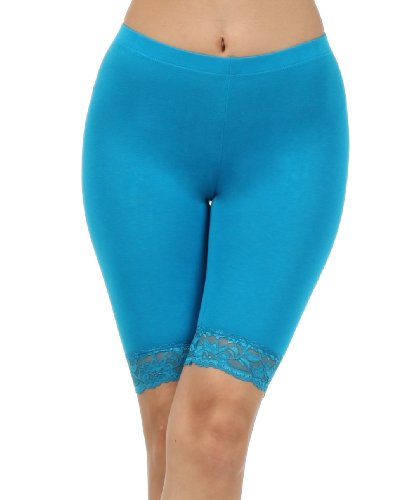 Yoga Bike-shorts Frauen (Sakkas 460060 Cotton Lycra-Mischung Spitze-Ordnungs-Stretch Bike Shorts - Made in USA - Turquoise - S)