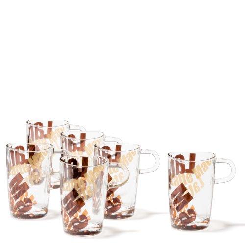 Leonardo Loop Latte Macchiato Tasse mit 3-farbigem Aufdruck, 6-er Set, 365 ml, Klarglas mit Print, 089344