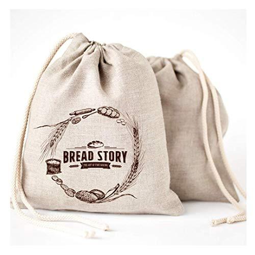 Bread Story Bolsas de Pan de Lino - 2 Unidades 11 x 15 Speical Art Diseño Natural sin blanquear Lino Reutilizable Alimentos Seguro Almacenamiento para casa artesana Pan