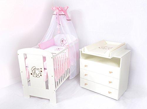 Babyzimmer sparset incl. Babybett , Wickelkommode , Ausstattung - Komplettset (Rosa)