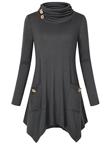 Bluse Damen Elegant, Hibelle Female Loser Rollkragen Langarm Trendy Fashion Casual Wear Knit Sweater Ausgestelltes Schwingen Nette Damen Shirts und Tunika Workout Tops Grau XL (Top Knit Casual)