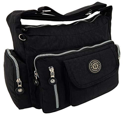 ekavale Wasserabwesende hochwertige leichtgewichte Damen-Handtasche Umhängetasche aus Crinkle Nylon (Schwarz) -