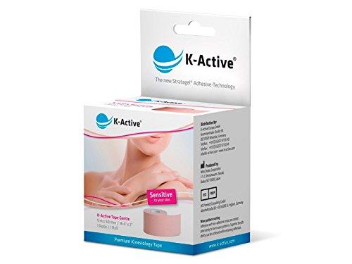 K-Active Kinesiologie Tape GENTLE, wasserabweisend und hypoallergen, 50 mm x 5 m, 1er Box