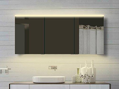 #Lux Aqua Alu Badezimmer Spiegelschrank mit Beleuchtung in warm & kaltweiß von 60 – 160 cm Breite erhältlich (160 x 70 cm)#