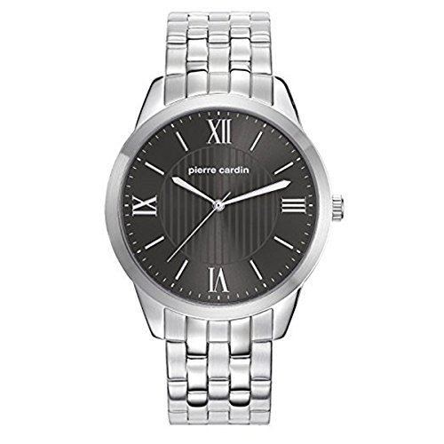PIERRE CARDIN MEN'S STEEL BRACELET & CASE QUARTZ BLACK DIAL WATCH PC107891F06