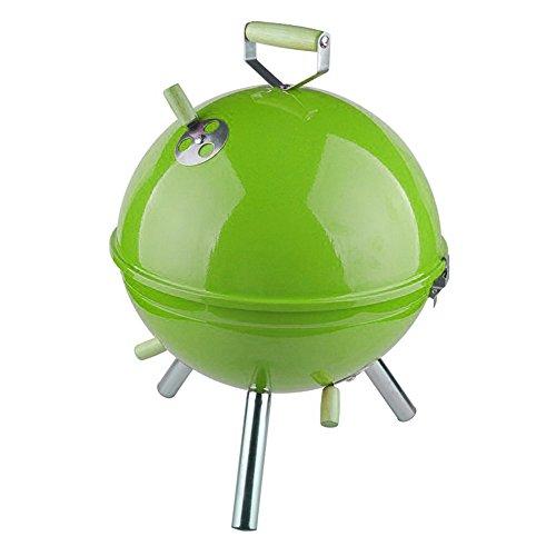 Nclon Portable Kohle Rauchfreier Mini-wasserkocher grill,Picknickgrill Holzkohlegrill Bbq Runde Mini Outdoor Camping Picknick Garten Beach 3-4 Volk-grün 31*41cm -