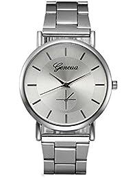 SKY Moda mujer cristal de acero inoxidable analógico reloj de pulsera de cuarzo pulsera (Plata)
