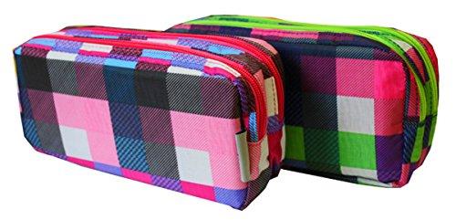 1x quadrati a doppia zip pencil case (colore casuale)