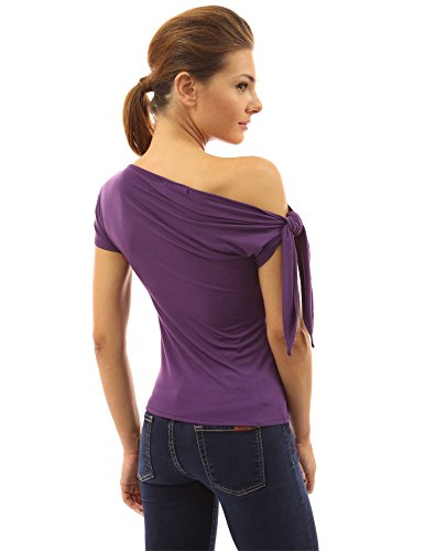 PattyBoutik Damen one shoulder stretch Bluse mit kurzen Ärmeln Medium Purple