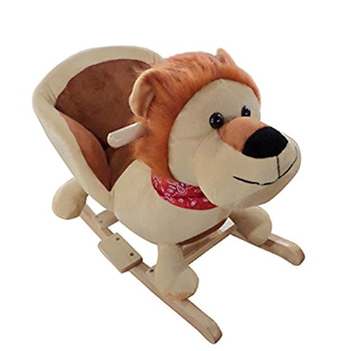 Schaukelpferd Baby Schaukeltier Plüsch Schaukel Pferd Baby Schaukelspielzeug Geschenk für Kinder mit Sound Braun Löwe