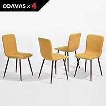 Sillas de comedor Eames Coavas Cojín de tela Sillas de cocina con patas de metal resistentes con protectores en patas, para comedor, Set de 4 amarillo