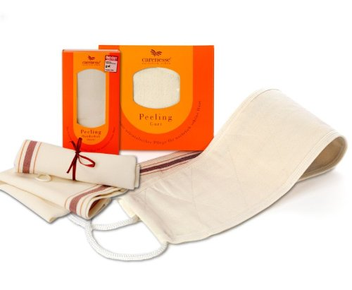 Carenesse Peeling-Set Klein, 1 Peelinggurt für den Rücken & 1 Peelinghandschuh classic für den Körper mit Ökotest