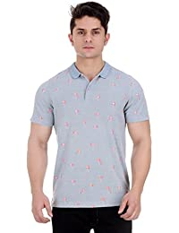 Girggit Pale Aqua Cotton Polo T-Shirt With All Over Flamingo Print And Silicon Wash