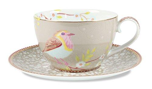 PiP Studio Early Bird Unterteller & Cappuccino Tasse khaki Cappuccino-tasse