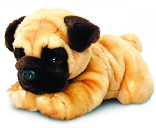 Lashuma Keel Toys Plüschtier Hund Mops, Kuscheltier liegend 30 cm
