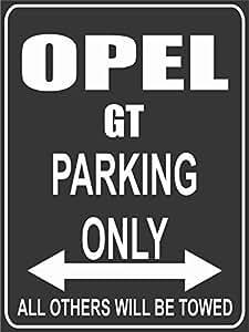 INDIGOS Alu Dibond 32x24 cm Parkplatz Opel GT Parking Only- Wei/ß-Rot Parking Only Parkplatzschild