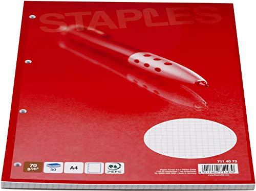 STAPLES Briefblock, kariert, 4fach Lochung, A4, 70g/m², hf, weiß, 50Bl.