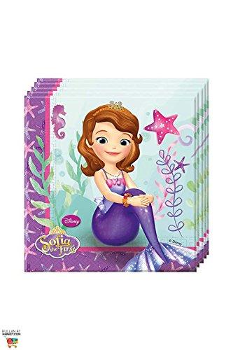 Disney Sofia die Erste Partyservietten Kindergeburtstag Lizenzware 20 Stück bunt 33x33cm Einheitsgröße